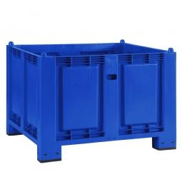 Palettenbox mit 4 Füßen, LxBxH 1200 x 800 x 850 mm, blau, Boden/Wände geschlossen. Tragkraft 500 kg
