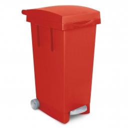 Tret-Abfalleimer mit Rollen, Inhalt 80 Liter, rot, BxTxH 370x510x790 mm, Polypropylen-Kunststoff (PP)