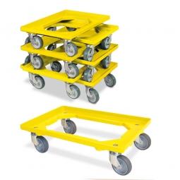 7er-Set Transportroller 600 x 400 mm, offenes Deck, 4 Lenkrollen, graue Gummiräder, gelb