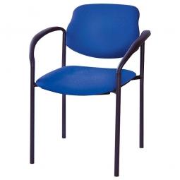 Besucherstuhl mit Armlehnen, Gestell schwarz, Polster marineblau, stapelbar, BxTxH 500x550x820 mm