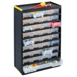 """Kleinteilemagazin """"Black"""" mit 33 Klarsichtboxen, BxHxT 300x480x135 mm, Gehäuse schwarz, Schubladen transparent"""