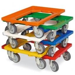 6x Transportroller im Spar-Set, bunt gemischt, für Kästen, Körbe, Kartons 600 x 400 mm