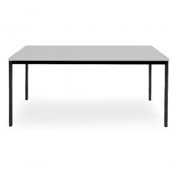 Rechtecktisch, Gestell schwarz, Platte lichtgrau, BxTxH 1600x800x720 mm