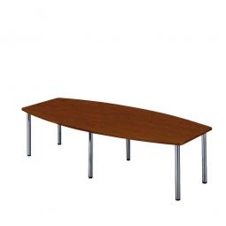 Konferenztisch mit 6 Rundrohrfüßen, chrom, Platte Nussbaum, BxTxH 2800x1300/780x740 mm