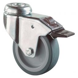 Apparate-Lenkrolle mit Feststellbremse, Rad-ØxB 50x18 mm, Tragkraft 40 kg, grau