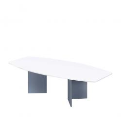 Konferenztisch mit Holzfußgestell, silber, Platte weiß, BxTxH 2800x1300/780x740 mm