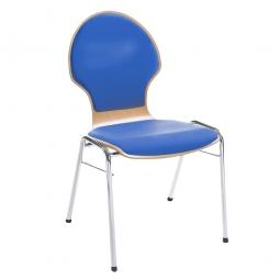 Holzschalen-Stapelstuhl, Mit Sitz- und Rückenpolster in Farbe blau