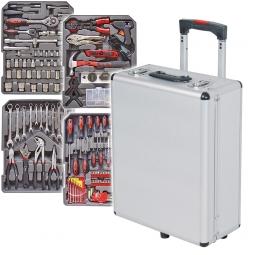 Alu-Werkzeugtrolly mit über 180 Teilen, Werkzeug aus Chrom-Vanadium-Stahl, BxTxH 385 x 240 x 510 mm