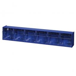 """Kleinteilemagazin """"Blue"""" mit 6 Klarsichtboxen, Set 2, BxHxT 600x115x95 mm, Behälter je BxTxH 79x69x65 mm"""