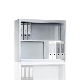 Aufsatzregal, 2 Ordnerhöhen, BxTxH 930 x 400 x 790 mm, lichtgrau