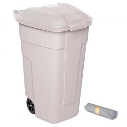 Rolleimer 100 Liter + GRATIS 50 Müllsäcke, BxTxH 510 x 550 x 850 mm,Korpus beige, Deckel beige