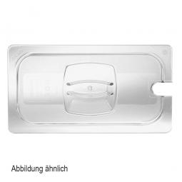Auflagedeckel f Schale GN1/1, mit Löffelaussparung, LxB 530x325 mm, Polycarbonat, glasklar
