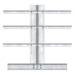 Kragarmregal, doppelseitige Ausführung, BxTxH 1410 x 2x400 2000 mm, Gesamt-Tragkraft 2720 kg