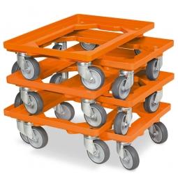 6x Transportroller im Spar-Set, Farbe orange, für Kästen, Körbe, Kartons 600 x 400 mm