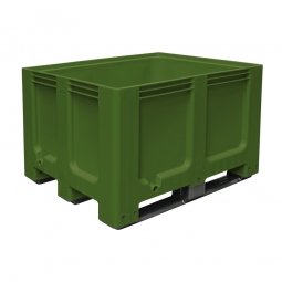 Großbox / Großbehälter mit 3 Kufen, 610 Liter, LxBxH 1200 x 1000 x 760 mm, Boden/Wände geschlossen, grün