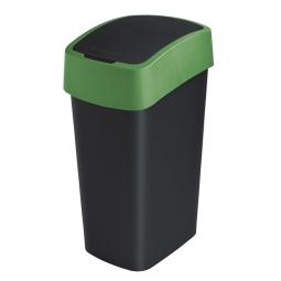 Abfallbehälter mit Schwing- oder Klappdeckel, PP, BxTxH 376 x 294 x 653 mm, Inhalt 50 Liter, schwarz/grün