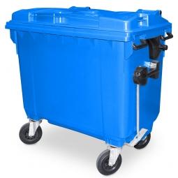 Müllbehälter, 660 Liter, nach EN 840-6, blau, BxTxH 1360 x 765 x 1235 mm, Polyethylen (PE-HD)