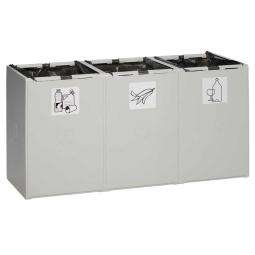 Abfall- und Wertstoff-Trennsystem, HxBxT 570 x 1060 x 405 mm, 60 Liter, 3-fach, lichtgrau