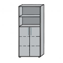 Büro-Kombischrank, 5OH, Lichtgrau, HxBxT 1880x800x345 mm