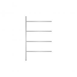 Aluminium-Anbauregal mit 4 geschlossenen Regalböden, Stecksystem, BxTxH 1175 x 400 x 2000 mm, Nutztiefe 340 mm