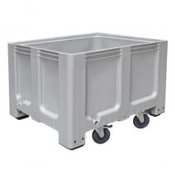 Großbox / Großbehälter mit 4 Füße und 4 Lenkrollen, 2 mit Feststellbremsen, 610 Liter, LxBxH 1200x1000x835 mm, Boden/Wände geschlossen, grau