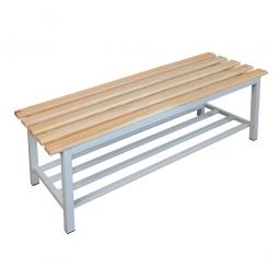 Sitzbank mit Schuhrost, BxTxH 1200 x 400 x 400 mm, Gestell RAL 7035 lichtgrau, Sitzfläche aus Naturholz