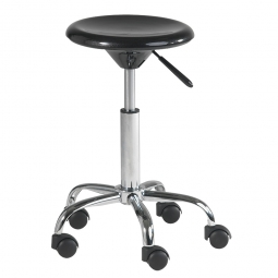 Arbeitsdrehhocker mit 5 Rollen, Sitz-Ø 320 mm, ABS-Kunststoff schwarz, Belastbar bis 90 kg