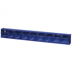 """Kleinteilemagazin """"Blue"""" mit 9 Klarsichtboxen, Set 1, BxHxT 600 x 77 x 65 mm, Behälter je BxTxH 48 x 46 x 44 mm"""