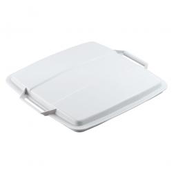 Deckel für Abfall- und Wertstoffbehälter 90 Liter, mit Griffen für leichtes Abnehmen, eckig, weiß