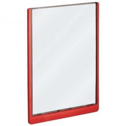 Türschild aus ABS-Kunststoff mit aufklappbarem Sichtfenster, BxH 210 x 297 mm, rot