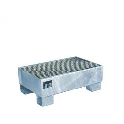 Auffangwanne für 60 Liter Fässer mit Gitterrost, LxBxH 800 x 500 x 290 mm, Volumen: 61 Liter, verzinkt