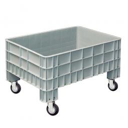Palettenbox mit Außenrippen und 4 Rollen, Außenmaße LxBxH 1200x800x670 mm, grau