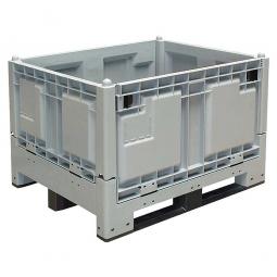 Groß-Klappbox / Großbehälter mit 3 Kufen, 670 Liter, LxBxH 1200 x 1000 x 850 mm, Wände/Boden geschlossen, grau