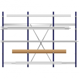 Komplettes Kragarmregal, leichte Ausführung, doppelseitige Nutzung, BxTxH 3235 x 2x500 x 2480 mm, Gesamt-Tragkraft 7000 kg