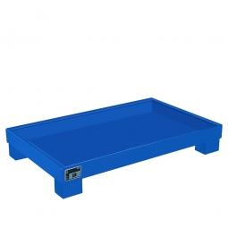 Auffangwanne für 60 Liter Fässer ohne Gitterrost, LxBxH 1300 x 800 x 205 mm, Volumen: 84 Liter, blau RAL 5012