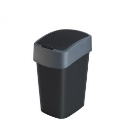 Abfallbehälter mit Schwing- oder Klappdeckel, PP, BxTxH 189x235x350 mm, Inhalt 10 Liter, schwarz/anthrazit