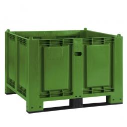 Palettenbox mit 2 Kufen, LxBxH 1200 x 800 x 850 mm, grün, Boden/Wände geschlossen, Tragkraft 500 kg