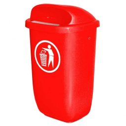 Abfallbehälter nach DIN 30713, 50 Liter, rot, BxTxH 430x330x745 mm, Polyethylen-Kunststoff (PE-HD)