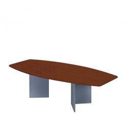Konferenztisch mit Holzfußgestell, silber, Platte Nussbaum, BxTxH 2800x1300/780x740 mm