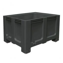 Großbox / Großbehälter mit 4 Füßen, 610 Liter, LxBxH 1200 x 1000 x 760 mm, Boden/Wände geschlossen, anthrazit