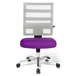 Drehsessel X-Pander, Sitz violett, Netzrücken weiß, Sitz HxBxT 410-530x480x480 mm, Rückenlehnenhöhe 600 mm