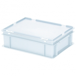 Eurobehälter mit Scharnierdeckel, LxBxH 400 x 300 x 130 mm, 11 Liter, weiß