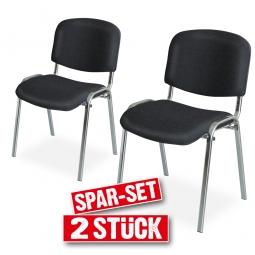 2x Polsterstühle schwarz, Spar-Set, BxTxH 545 x 425 x 820 mm, Sitz BxTxH 475 x 415 x 470 mm