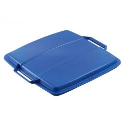 Deckel für Abfall- und Wertstoffbehälter 90 Liter, mit Griffen für leichtes Abnehmen, eckig, blau