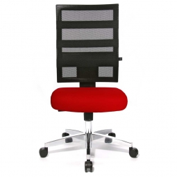 Drehsessel X-Pander, Sitz rot, Netzrücken schwarz, Sitz HxBxT 410-530x480x480 mm, Rückenlehnenhöhe 600 mm