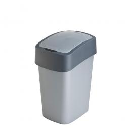 Abfallbehälter mit Schwing- oder Klappdeckel, PP, BxTxH 350 x 189 x 235 mm, Inhalt 10 Liter, silber/grau