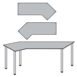 EDV-Tisch mit Quadratrohr-Füßen, Farbe silber, Lichtgrau, BxTxH 2100x800/1300x680-760 mm
