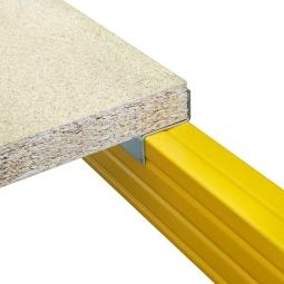 Holzboden aus Spanplatte V20 - E1, naturbelassen, Nutzmaß LxTxH 2670 x 1095 x 38 mm, Tragkraft: 771 kg