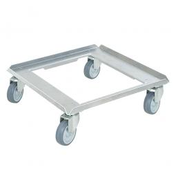 Edelstahl-Transportroller für 500 x 500 mm Spülkörbe, graue Gummiräder, Deck offen, Tragkraft 250 kg