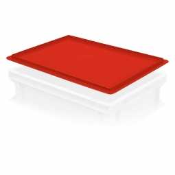 Auflagedeckel für Euro-Stapelbehälter, LxB 400x300 mm, rot, Gewicht 450 g